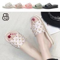 【88%】涼拖鞋-珠寶華麗鞋面 休閒舒適 厚底跟高4cm 一字拖鞋 涼拖鞋