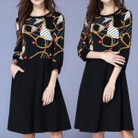 麗質達人 - 8854黑色印花拼色洋裝