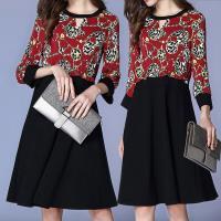 麗質達人 - 8856黑紅色印花拼色洋裝