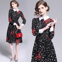 【M2M】甜美時尚翻領撞色袖口星星印花洋裝S-XL