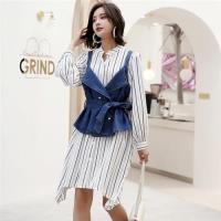 【KVOLL】長袖條紋襯衫裙牛仔吊帶兩件套XL-5XL
