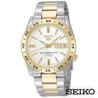 SEIKO精工 半金經典5號自動上鍊機械腕錶-白面+金x36mm SNKE04J1