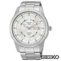 SEIKO精工   男神經典5號自動上鍊機械腕錶-白x43.4mm SNKN09J1