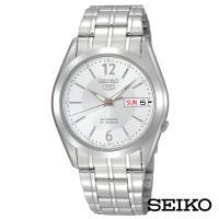 SEIKO精工   典5號自動上鍊機械腕錶-銀+白面x36.5mm SNKE97J1
