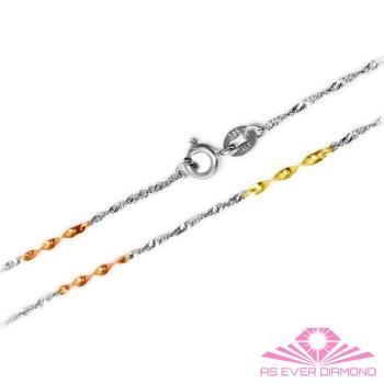 【AS EVER DIAMOND】義大利14K金項鍊 高級花式鍊子饗宴 浪漫三色水波鍊