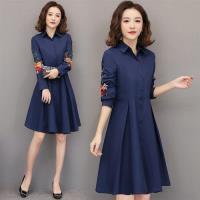 【KVOLL】顯瘦排釦裙襬打摺刺繡洋裝L-5XL