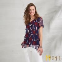 MONS法式精品印花100%蠶絲上衣