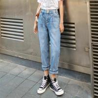 【WHATDAY】復古休閒高腰牛仔褲S-XL(共二色)