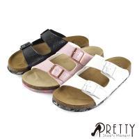 Pretty 不規則壓紋金屬飾釦牛皮平底女拖鞋U66-29820
