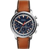 FOSSIL 都會摩登計時手錶-藍x棕色/44mm FS5414