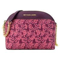 MICHAEL KORS   華麗花卉圖樣防刮鍊帶斜背包-中/深紫