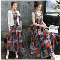 【KVOLL】新藝術風格背心長裙+精緻罩衫外套M-5XL