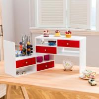 TWO TONE - 多用途桌上型伸縮置物架  - 白紅