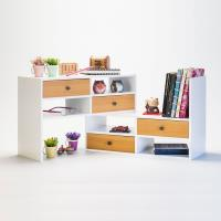 TWO TONE - 多用途桌上型伸縮置物架  - 白 原木色