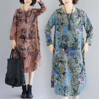 【Keer】原創文藝寬鬆棉麻印花洋裝L-2XL(共兩色)