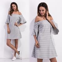 歐風KEITH-WILL  L~XL  簡約條紋提花棉一字領洋裝