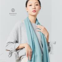 【BANNIES'】100% Cashmere 喀什米爾  窄版素面 藍灰色