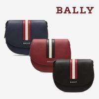 【BALLY】經典織帶荔枝牛皮半圓弧斜背包 (多色)