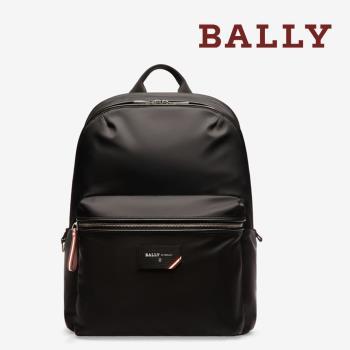 【BALLY】FEREY 防潑水尼龍前拉鍊後背包(6226246-黑)
