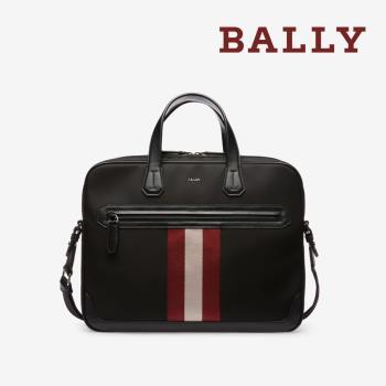 【BALLY】防潑水帆布商務手提斜背公事包 (6220461-黑)