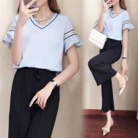【KVOLL】甜美優雅V領鏤空荷葉袖雪紡衫XL-5XL(共三色)