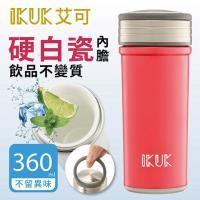 IKUK 真空雙層內陶瓷保溫杯360ml-火把好提桃色