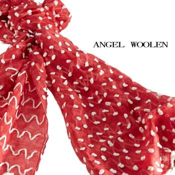 【ANGEL WOOLEN】點綴夢想細緻手工喀什米爾羊毛披肩 圍巾(紅色)