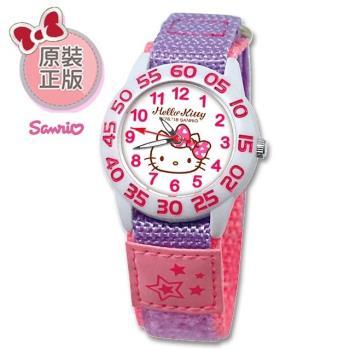 【SANRIO 三麗鷗】自黏帶 數字學習兒童手錶 - Hello Kitty 氣質凱蒂