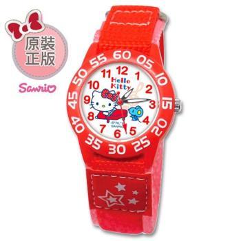 【SANRIO 三麗鷗】自黏帶 數字學習兒童手錶 - Hello Kitty 彈鋼琴凱蒂與小鼠