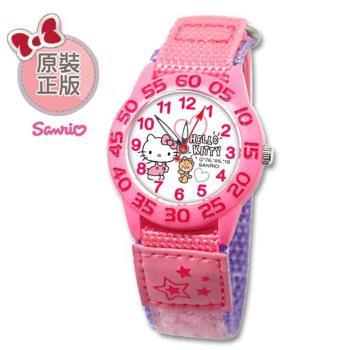 【SANRIO 三麗鷗】自黏帶 數字學習兒童手錶 - Hello Kitty 凱蒂貓與小熊