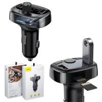 Baseus倍思 S-09車載藍芽MP3接受器+3.4A充電器+音樂(隨身碟,TF卡)讓車上音響有藍芽功能+通話-黑色