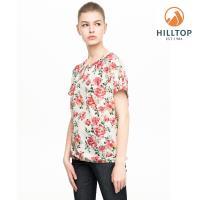 【hilltop山頂鳥】女款吸濕快乾抗UV彈性短袖襯衫S06F59卡其玫瑰暗粉印花