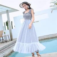 【REKO】黑白格紋拚色洋裝S-XL