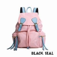 BLACK SEAL 休閒雙扣細尼龍軍旅後背包-櫻花粉 BS83111