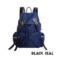 BLACK SEAL 休閒雙扣細尼龍軍旅後背包-藏藍 BS83111