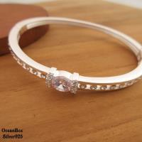 質感閃亮排列鋯石925純銀手環