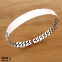 質感時尚經典編織設計999足銀純銀開口式手環.男女皆可