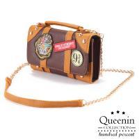DF Queenin日韓 - 英倫學院風徽章單肩手機包
