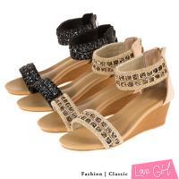 Love Girl 夏日亮彩民族風編織一 字環裸楔形涼鞋