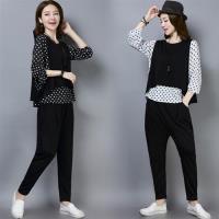 【REKO】寬鬆上衣+鬆緊小腳褲+小背心三件套M-2XL(共兩色)