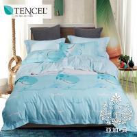 AGAPE亞加‧貝 -俏點鯨兒 吸濕排汗法式天絲雙人特大6x7尺四件式兩用被套床包組/床包加高35公分