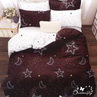 BUTTERFLY-台製柔絲絨標準雙人薄式床包枕套三件式-星月神話-紅