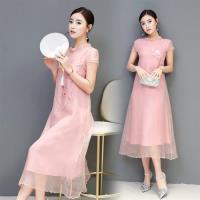 【REKO】復古氣質中式印花洋裝S-2XL(共兩色)