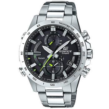 【CASIO】EDIFICE 夜行騎士計速藍牙太陽能不鏽鋼錶(EQB-900D-1A)