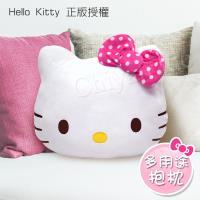 Hello Kitty 凱蒂貓 桃紅色點點蝴蝶結 大抱枕 午安枕 腰靠枕 沙發枕 汽車枕47x39cm(正版授權)