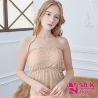 【SILK絲幼克】純蠶絲平口吊帶蕾絲拼接抹胸內搭衣(蠶絲內搭 X020)