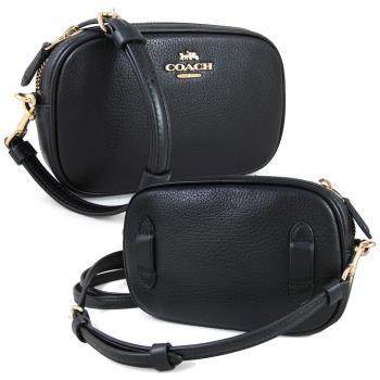 COACH 馬車LOGO鵝卵石紋全皮革相機斜背包/腰包(禮盒款)