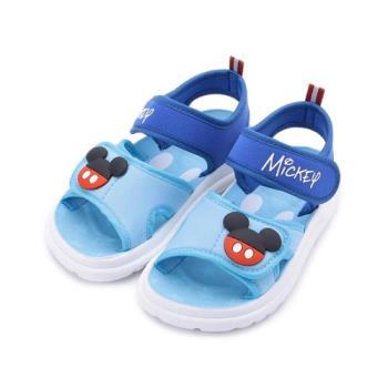 DISNEY 米奇配飾彈力涼鞋 水藍 中小童鞋 鞋全家福