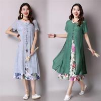 【REKO】文藝民族風印花假兩件洋裝M-2XL(共二色)