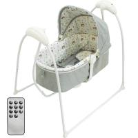 Babybabe 嬰幼兒MP3音樂電動搖床(熊熊家族)-亞麻灰
